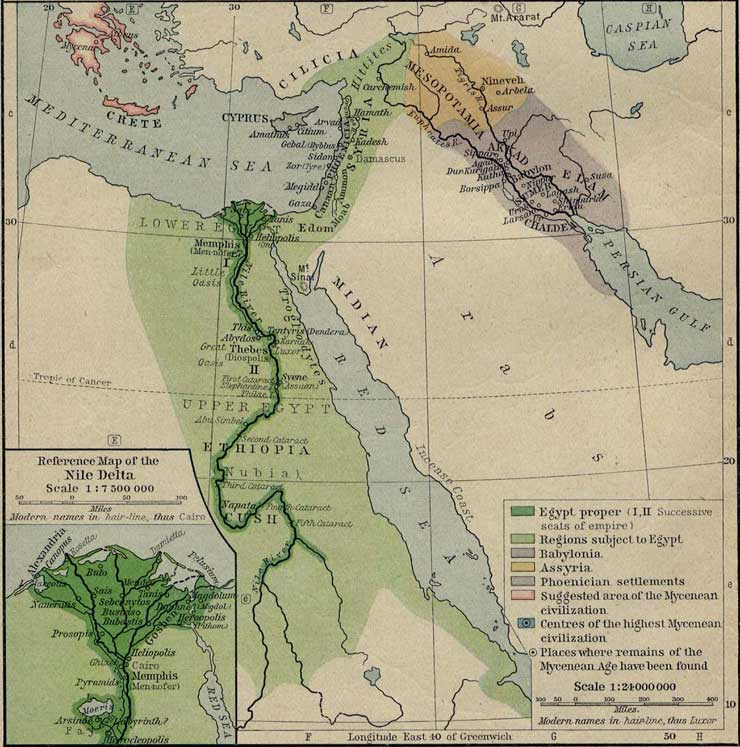 Red Sea Crossing - Map of egypt during exodus